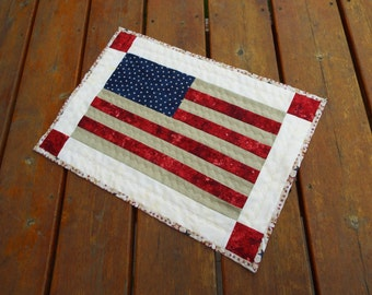 Table Runner, Table topper, quilted table runner, red white blue, flag table runner, patriotic, Reversible, stonehenge
