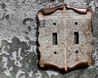 Sherlock Holmes Irene Adler Decoupage Library Book Double Light Switch Plate Cover