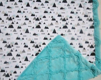 Mountains Baby Boy Blanket, Baby Boy MINKY Blanket, Minky Baby Blanket, Mountains Baby Blanket, Ready to Ship Baby Boy Blanket