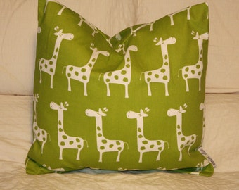 "20""x20"" Square Pillow Cover, Lime Green Giraffes, Cushion Cover, Throw Pillow, Premier Prints, Baby, Nursery, Home, Zoo Pillow"