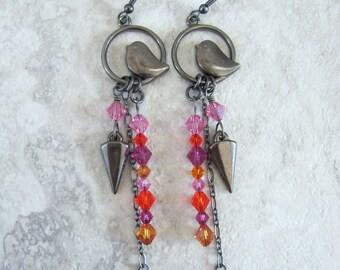 Bird earrings, gunmetal earrings, Swarovski crystal earrings, black bird earrings, ready to ship jewelry, gifts for women, free shipping