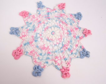 Vintage Flower Shape Doily Scalloped Edge Pink and Blue Doily Table Linen Runner Vanity Hand Crocheted Lace Dresser