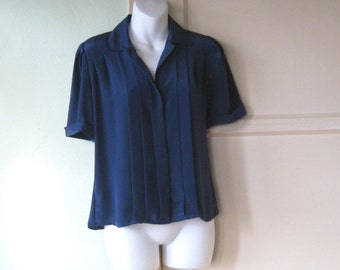 Navy Blue Vintage Short Sleeved Blouse - Drapy Pleated Career Shirt - Medium Navy Office/Date Blouse; Small Collar - '70s-'80s Office Top