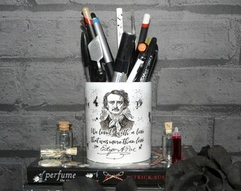 """Edgar Allan Poe Pen Holder, Pen Pot, Annabel Lee, """"We loved with a love that was more than love"""",  Literary Quote, Pencil Holder, UK"""