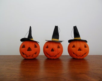 Three Flocked Halloween Jack O Lanterns Happy Pumpkin Ornaments with Witches Hat