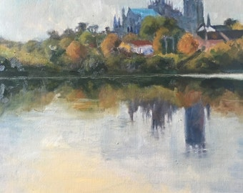 "Early Autumn Morning, original oil painting 12x12"" Ely cathedral"