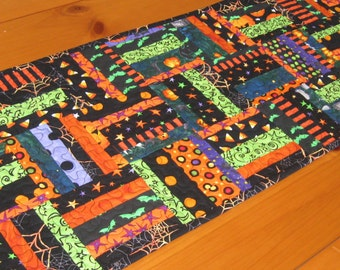 Quilted Table Runner, Scrappy Halloween Random Rails