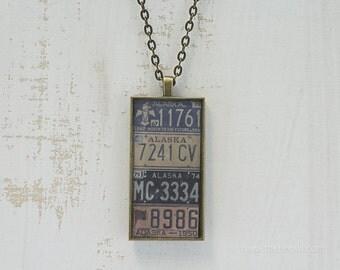 Vintage Alaska License Plates Necklace | Unique Pendant | Alaska Jewelry | Antique Bronze | Wearable Art
