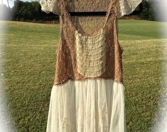 Izzy Roo  Storybook Sweet Lace Tunic  Shabby Chic French Country Antique Style