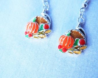 Vintage Enamel Cornucopia Earrings Thanksgiving Harvest Pumpkin