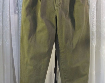 """Vintage 90's men's Nautica muted olive green casual denim cuffed pants 34"""" x 32"""""""