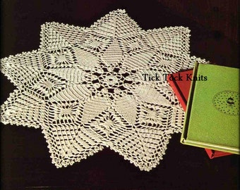 No.486 Thread Crochet Pattern PDF Vintage - Star Shaped Doily - 9 Pointed Star Table Setting Placemat Centre - 1970's Crochet Pattern