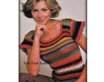 No.532 Women's Crochet Pattern PDF - Cap Sleeved Shrink Top - Short Sleeve Pullover Sweater - 1970's Vintage Crochet Pattern Retro Boho