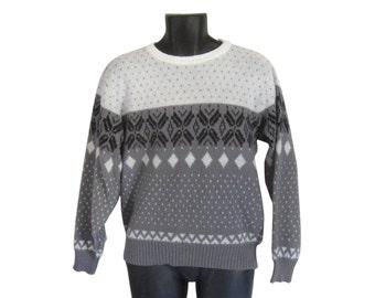 Ski Sweater Men 80s Sweater 1980s Sweater Snowflake Sweater Men Jumper Men Pullover Sweater Winter Sweater Retro Sweater Knit Sweater