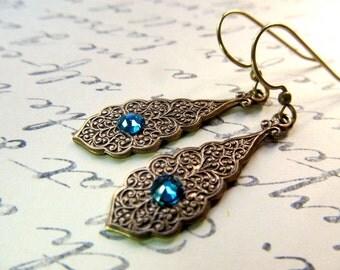 Art Nouveau Earrings Art Deco Earrings Gothic Earrings 1920s Earrings Pendant Earrings Peacock Earrings Blue Earrings-Bombay Nights