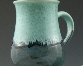Coffee Mug in Aqua and Blue Handmade Pottery