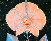 Original Handmade Moon Orchid Batik Tapestry - Original Artwork - Sacred Geometry - Moon Cycles - Crystals - Space - Metatron's Cube