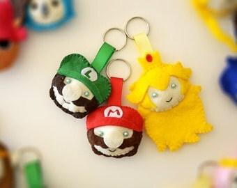 Super Mario Felt Keychains