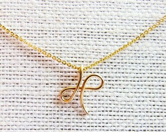 Letter X Necklace, Gold Initial Necklace, Cursive Letter Necklace, Letter Necklace, Initial Necklace
