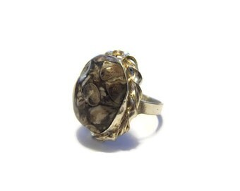 Vintage Sterling Fossil Agate Ring Size 8.5
