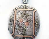Gorgeous Victorian Floral Tri-Color Gold and Silver Aesthetic Locket