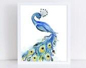 Peacock Watercolor Painting Art Print || art print, wall art, peacock, animal lover, bird, feathers, blue, original watercolor painting