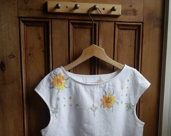 Ladies boho floral blouse summer blouses size 12 white shirt embroidered top womens clothing tops and tees lace shirts  Dolly Topsy Etsy UK