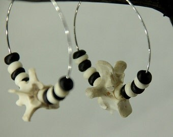 Bone and bead earrings Witchy/creepy/scary/pagan/gothic