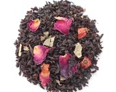 ENGLISH ROSE tea, Organic Rose Tea, Loose Black Tea, Hand Blended,Floral Tea, Aromatic , Garden Party, Iced Tea, Caffeinated, 1oz Eco Box