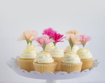 pink flower carnation cupcake toppers