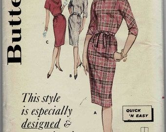 "1960s Sheath Dress Petite. Quick & Easy: Jewel Neck, Kimono Sleeves, Straight Skirt. For Misses' 5' 3"" and under. Size 12 Bust 32 inches."