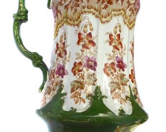 T Rathbone Perue Pattern Victorian Jug Art Nouveau Jug Victorian Vase Antique Pitcher Vintage Pitcher Victorian Pitcher Antique Vase