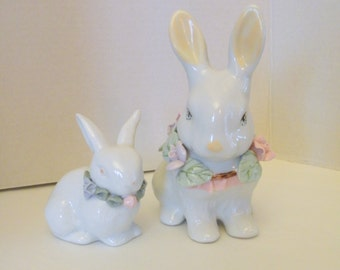 Pair of White Ceramic Bunny Rabbits with Pastel Flowers