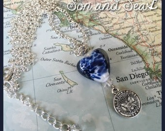 US Navy beautiful heart necklace by Son and Sea free US shipping