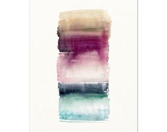 Modern Watercolor Art Print / Teal & Purple Boho Wall Art. Jewel Toned Painting. Modern Boho Abstract Art. Apartment / Dorm Art / Gypsy Art