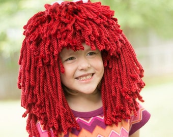 READY TO SHIP Raggedy Ann Crocheted Yarn Wig - Costume, Photo Prop - 6-12 Months Size