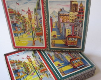 Vintage Mid Century San Francisco Souvenir Chinatown Cable Car Playing Cards