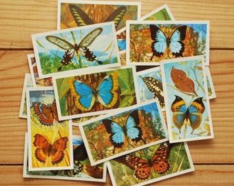 SALE! Vintage butterfly cards, Brooke Bond tea cards, Butterflies of the World, cigarette cards, small flash cards