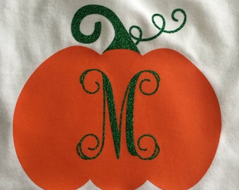 Adorable Fall - Thanksgiving - Halloween Personalized Pumpkin Long sleeved t shirt- GIrls Halloween Shirt- Fall Shirt Thanksgiving Outfit