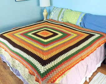 "Harvest Color Rainbow Vintage Crocheted Afghan 72"" x 70"""