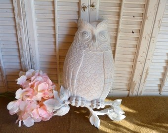Vintage Upcycled White Distressed Owl Wall Hanging Nursery Decor Cottage Chic