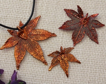 SALE Leaf Necklace, Copper Maple Leaf, Real Leaf Necklace, Copper Leaf, Real Leaf Pendant, Japanese Maple, Holiday Gifts SALE282