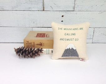 The Mountains Are Calling Pillow, Lodge Decor, Cabin Decor, Rustic Home Decor, Mountain Pillow, John Muir Quote,Mountain Pillow, Hiking Gift