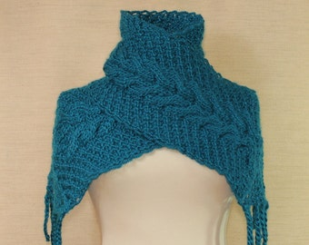 Knit Long Scarf, Infinity Scarf, Chunky Cowl, Neck Warmer, Cable Knit, Crochet Scarf, Alpaca Wool, Cobalt Azure Blue Winter Gift For Women