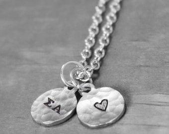 Sigma Alpha Necklace, Charm Necklace, Sigma Alpha Jewelry,  Sorority Gift Sorority Jewelry Charm Necklace Sorority Sister