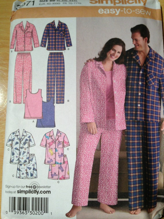 Simplicity Sewing Pattern 3971 Womens and Mens Pajamas in Two Lengths and Knit Tank Top Size XL, XXL, XXXL Uncut
