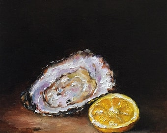 Oyster Shell And Lemon Slice Original Oil Painting by Nina R.Aide Fine Art Fruit Small Painting Traditional Classic Art Chiaroscuro