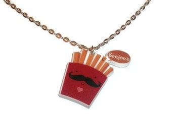 French Fries Necklace Kawaii Cute Cartoon Food Jewelry Laser Cut Pendant Bonjour Moustache Quirky