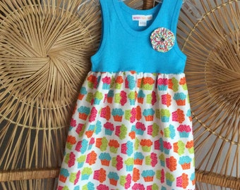 BIRTHDAY TANK DRESS - Now choose between turquoise and white tank ...dress in cupcake & polka dot or sprinkles fabric