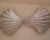 Seashell buckle Vintage Silver tone, Large,